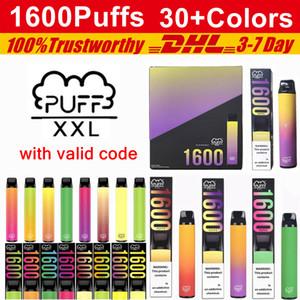 Puff XXL Einweg-Vape-Stifte 1600 Puffs 850mAh Batterie-Puff-Bar-Bars Posh plus Bang XL XXL Vorgefüllte Geräte-Kits Einweg-E-Zigaretten