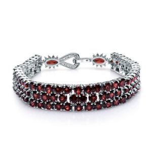 GEM DO BALLET 925 Sterling Silver Pulseiras Bangles For Women Fine Jewelry 30.80Ct Natural Vermelho Garnet Gemstone Bracelet Genuine