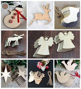 Christmas Tree Ornaments Wood Chip Snowman Tree Deer Socks Hanging Pendant Christmas Decoration Xmas Gift Crafts YHM12