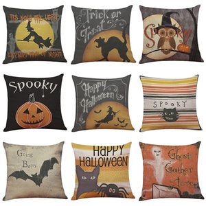 Halloween Spooky Pattern Linen Cover Home Office Sofa Square Pillow Case Decorative Cushion Covers Pillowcases Without Insert(18*18)