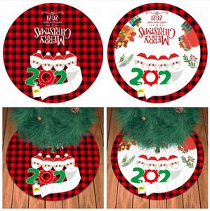 90CM 크리스마스 트리 스커트 새해 개인 유족 패턴 크리스마스 트리 아래 장식 패드 선물 DDA670