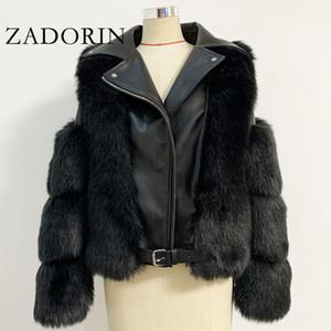 ZADORIN Top Fashion Luxury FAUX Fox Fur Coat Motorcycle PU Leather Turn Down Collar Warm Faux Fur Jacket Women Winter New 201006