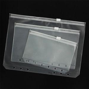 A5 / A6 / A7 ПВХ Binder Clear Zipper сумка для хранения 6 отверстий Водонепроницаемый Канцелярские сумки Путешественник Portable Document Sack KKA1674