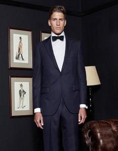 2020 One Button Назад Vent Groomsmen Нового дизайн свадебных костюмов для мужчин Синих Женихов смокингов Остроконечных мужских нагрудных костюмов (куртка + брюки)