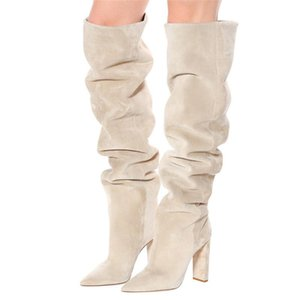 New ladies high leather boots, women's knee boots, pure color casual fashion bootsAutumn and winter cotton boots