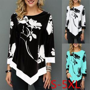2020 Spring Autumn Plus Size Women T Shirts Tops Loose Casual Three Quarter O Neck Floral Print Irregular Female T Shirt 5Xl