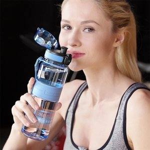 UZSPACE Спортивная водяная бутылка Портативный Утечка Прямой питьевой Шейкер Бутылки Фрукт Пластиковые Пластиковые Пропионат 500/1000 мл BPA Бесплатный 201109