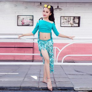 Novo 2 PCS Tops Scarf-Saia Kids Belly Dance Training Outfits Indian Dance Stye Performance Roupas para crianças meninas1