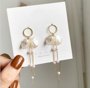 5pcs Women's Luxury Fashion Jewelry Designer Chain Tassel Stainless Steel Pearl Earrings For 925 Sterling Silver Womens Stud Earring