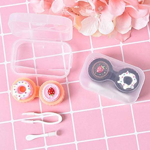 1Pc Cartoon Cake Contact Lenses Box Beauty Case Refillable Bottles Travel Contact Lens Case Holder Container