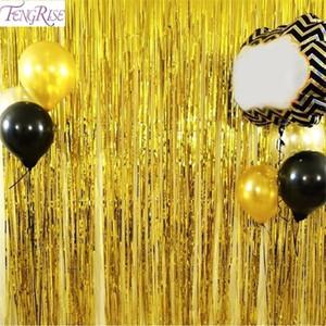 FENGRISE 1x2m 1X3M Metalic Foil Fringe Tinsel Vorhang Hochzeit Dekoration Goldtroddel Garland Geburtstags-Party-Kulisse