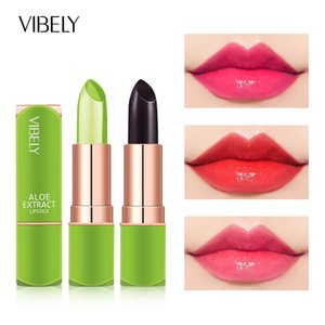 Aloe Vera Moisturizing Lip Balm Color Change Jelly Lipstick Plant Base Long Lasting Non-stick Cup Makeup Lipstick Lip Care