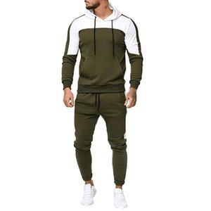 Sport Suit Tracksuit Men's Autumn Patchwork Sweatshirt Tops Pants Sets Sports Suit Tracksuit Big Size Casual Sportswear#g30
