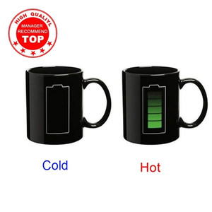 Creative Battery Magic Mug Positive Energy Color Changing Cup Ceramic Discoloration Coffee Tea Milk Mugs Novelty Gifts 201029