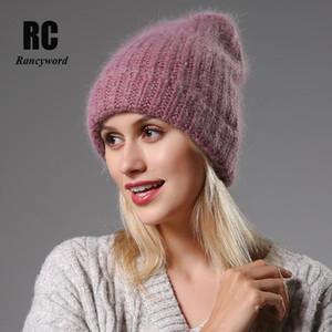 قبعة / جمجمة قبعات الشتاء المرأة hat70٪ أنغولا الفراء محبوك قبعة قبعة للنساء فتاة أنثى قبعة بسيطة