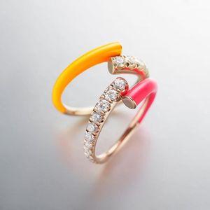 Anillos de racimo 2021 Moda fluorescente de verano joyería de mujer colorido anillo de esmalte de neón ajustado tamaño1