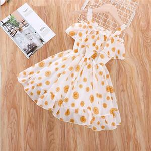 2021 الصيف الجديدة الفتيات اللباس الزهور الشيفون الكوكيات الأميرة عطلة شاطئ اللباس ملابس الأطفال E320