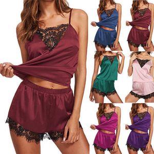 Sexy feminino sleepwear mulheres lace nightwear sling top e shorts pijamas conjunto sexy casa desgaste roupas presente hha1716