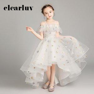 Flower Girl Dresses B046 2020 Spaghetti Straps High Low Tulle Kids Evening Dress New Sequins First Communion Dresses for Girls
