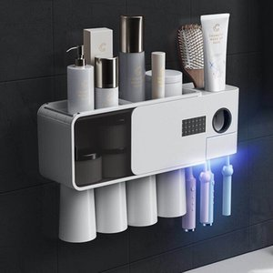 New style toothbrush sterilizer, smart UV, wall-mounted disinfection and sterilization toothbrush holder set, punch-free toothbrush holder