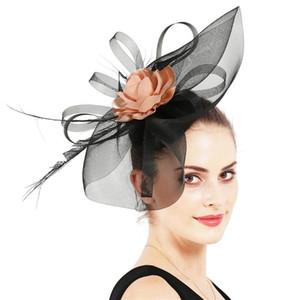 Mingli Tengda Top Black Hat Handmade Feather Hair Ornament Wedding Bridal Hair Band Headdress Fascinator Cap Ladies Hats
