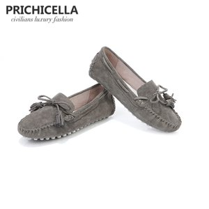 PRICHICELLA grey suede leather flats shoes comfortable loafers lazy shoes 201012