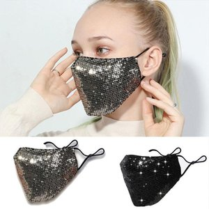 Reusable PM2.5 Washable Bling Mask 3D Fashion Care Shield Sun Color Gold Elbow Sequins Shiny Face Cover Mount Masks Anti-dust Mouth Mas