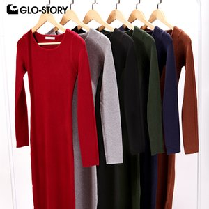 GLO-STORY Femmes Pull robe robe élégante à manches longues à manches longues chics Sexy Party Full Sweater Robes WMY-2616 Y0118