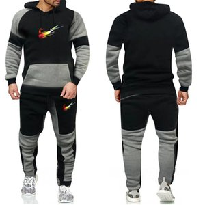 Black jacket mens Men set sweatsuit Mens Womens hoodies+pants Mens Clothing Sweatshirt Pullover Casual Tennis Sport Tracksuits Sweat Suits