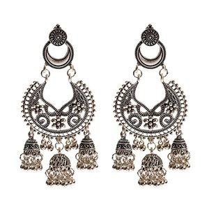 Indian Jhumka Earring Boho Bells Tassel Hollow Flower Carved Dangle Earrings For Women Jewelry