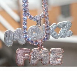 Designer Iced Out CZ Cubic Zirconia Gold Hip Hop Custom Name Combination Bubble Letter Pendant Chain Necklace Full Diamond Initial Jewelry