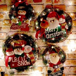 Guirlande Christmas Wooden Couronne Mur Joyeux Porte Suspendre Personnes Santa Claus Elk Snowman Ornements Noël Pendentif Décor pour la maison 2021