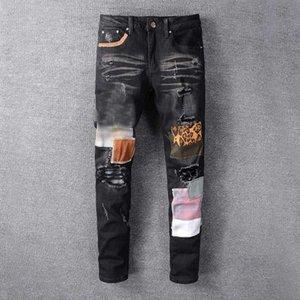 Mens Jeans Nova Moda Moda Designer Jeans Stylist Black Blue Jeans Apertado Elastic Elastic Slim Slim Hops Calças masculinas