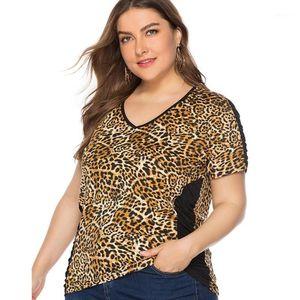 2019 Women's Plus Size Summer Casual New V-neck Short-Sleeved Leopard Stitching Top T-shirt Women Blouse Vestidos Plus Size 5XL1