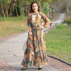 2020 Nouveautés Floral robe à manches longues maxi Bohême robe taille plus célébrité / obtention du diplôme / Dîner Flowy Plage Sundress
