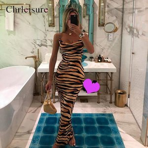 La stampa sexy slip Abito Donne tigre a strisce Abito lungo Push Up aderente Abiti Scollo a V Women Clothes C1024