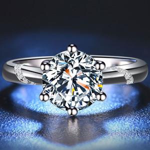 BOEYCJR 925 0.5ct / 1ct / 2ct F cor Moissanite VVS acoplamento do casamento anel de diamante com certificado nacional por Mulheres 201112