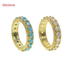 Sdzstone Ronda Band anillos de piedra naturales para la joyería Blue Beads color dual hombres de las mujeres de la vendimia Turquesas dedo suena el partido