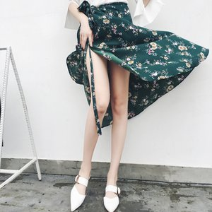 Bohemian High Waist Floral Print Summer Skirts Womens Boho Asymmetrical Chiffon Skirt Maxi Long Skirts For Women 201016