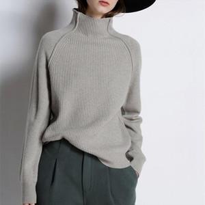 Automne hiver Cachemes Sweaters Femmes Collier High Collier Épaissi Pull lâche Chemise en laine tricotée Pull féminin