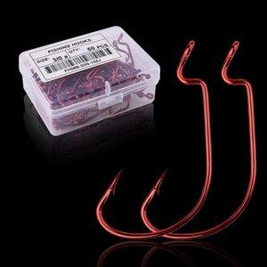 50 teile / box rot hoch-kohlenstoffstahl angelhaken 5/0 # -6 # crank angeln haken locken worm pesca für weiche Köder Fisch Tackle ACC BBYREU