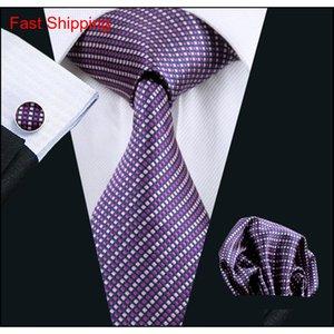 Neue Stil Scheck Purple Krawatte Hankerchief Manschettenknöpfe Mens Set Jacquard gewebt Classic qyldso homes2007