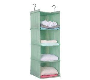 Hanging Wardrobe Storage, Advanced Oxford Cloth Hanging Closet Organiser Shelves Set for Clothes Shoes, 4-Shelf, Washable