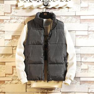 Erkek Yelekler M-3XL Çizgili Kolsuz Ceket Kaban Homme Kış Rahat Erkek Pamuk-Yastıklı Kalınlaşma Yelek Erkekler Yelek Artı Boyutu XXXL