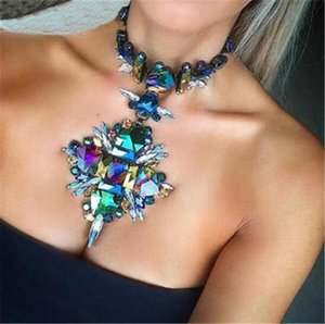 2021 Summer Geometric Fashion Crystal Choker Necklace Women Wedding Boho Statement Necklace Custom Chocker Jewelry Wholesale