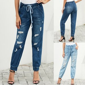 womens designerCave jeans Women Blue high waist elastic belt tight pants 786187