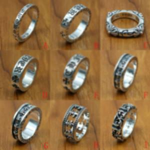 Nouveau 925 Bijoux en argent Sterling Style Vintage Silver Silver Silver Band Band Bandes Croix