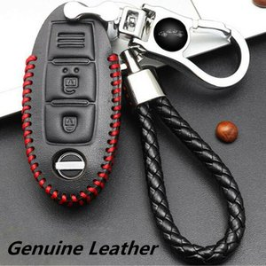 For Nissan Car Real Leather+Chromium Remote Key Bag Case Holder Cover+Key Chain