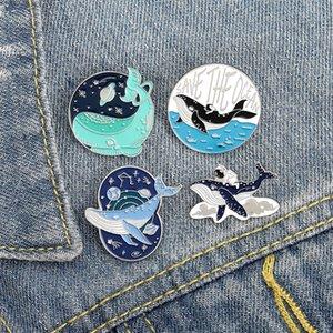 Kadınlar Kız Moda Takı Aksesuar Metal Vintage Broş iğneler Rozet Toptan Hediyesi için Save The Ocean Sevimli Emaye Broş Pin