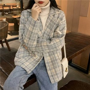 Retro fried Street Plaid suit woolen coat women's fall 2020 new loose and versatile wear long sleeve top